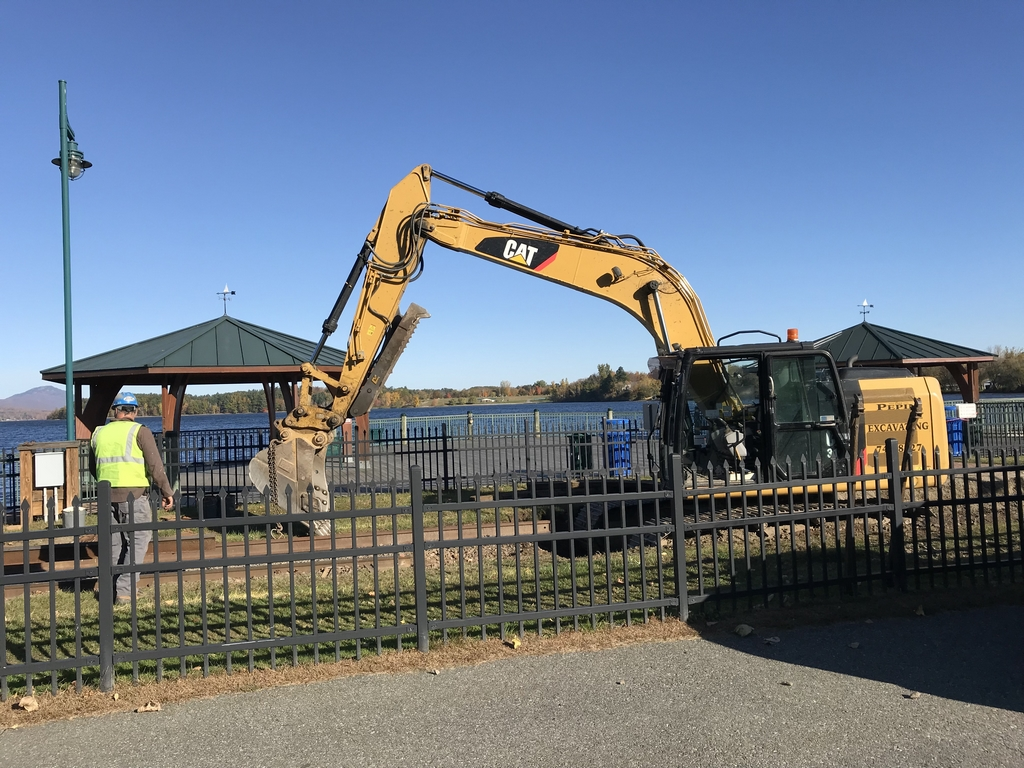 backhoe on park project